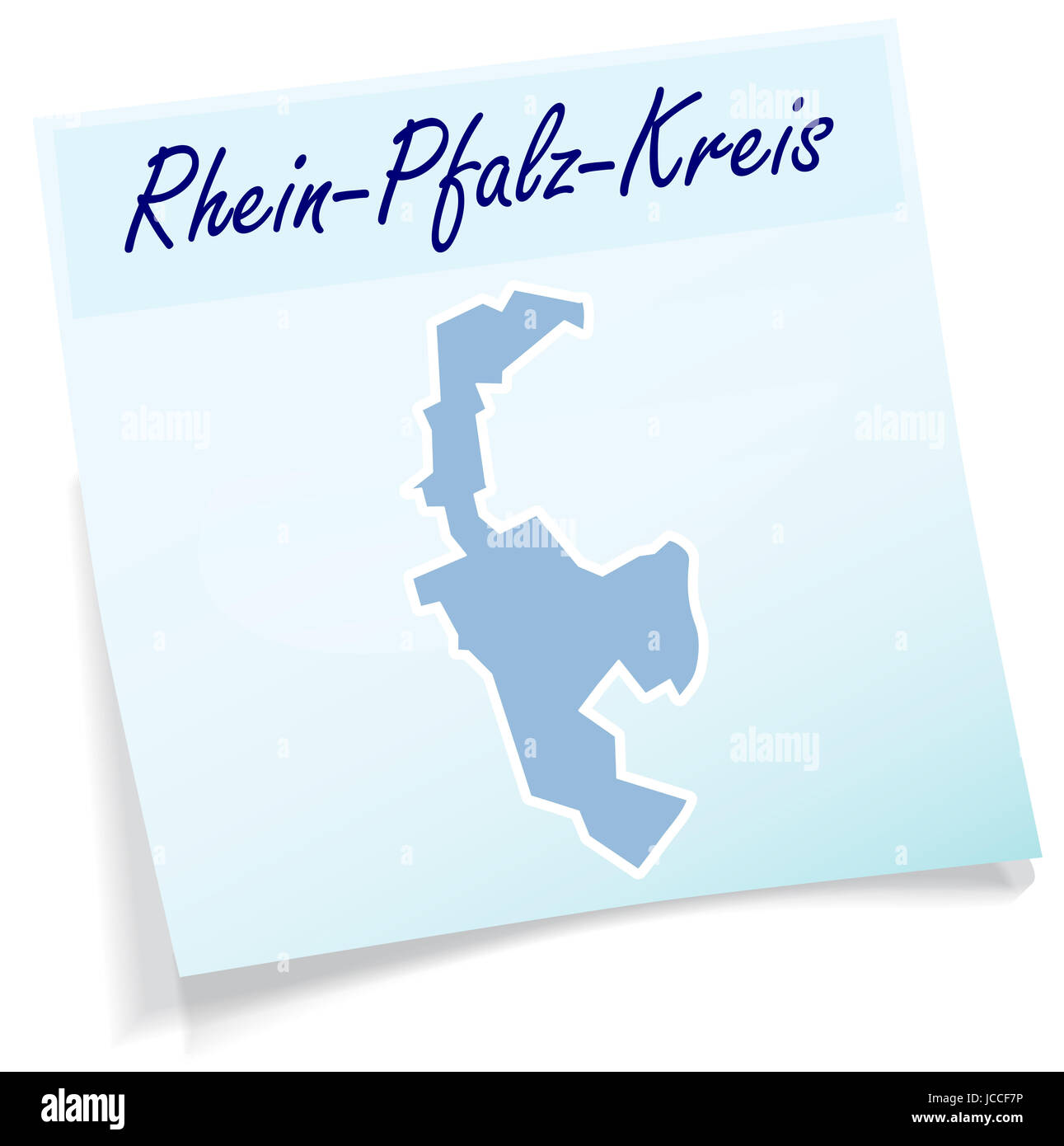 Rhein-Pfalz als Notizzettel in Blau - Stock Image