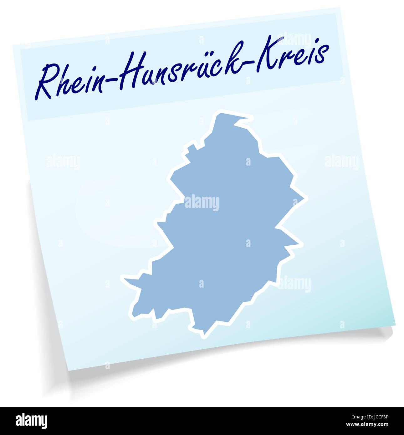 Rhein-Hunsrueck-Kreis als Notizzettel in Blau - Stock Image