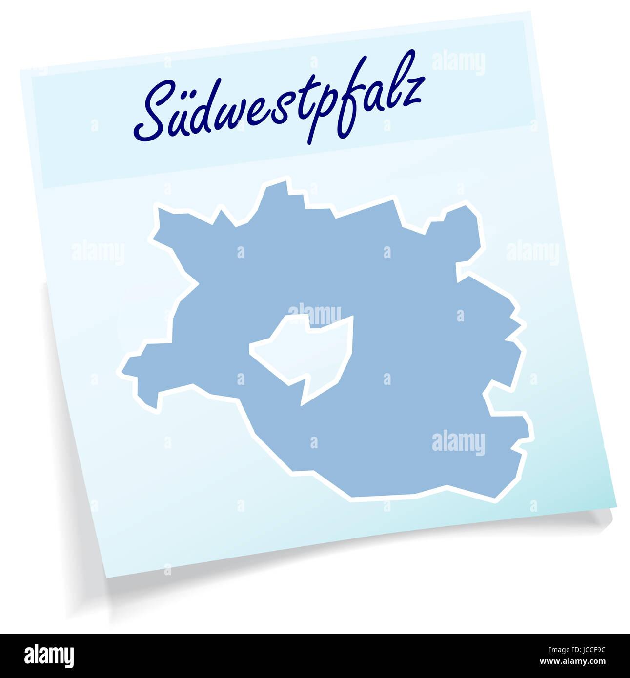 Suedwestpfalz als Notizzettel in Blau Stock Photo