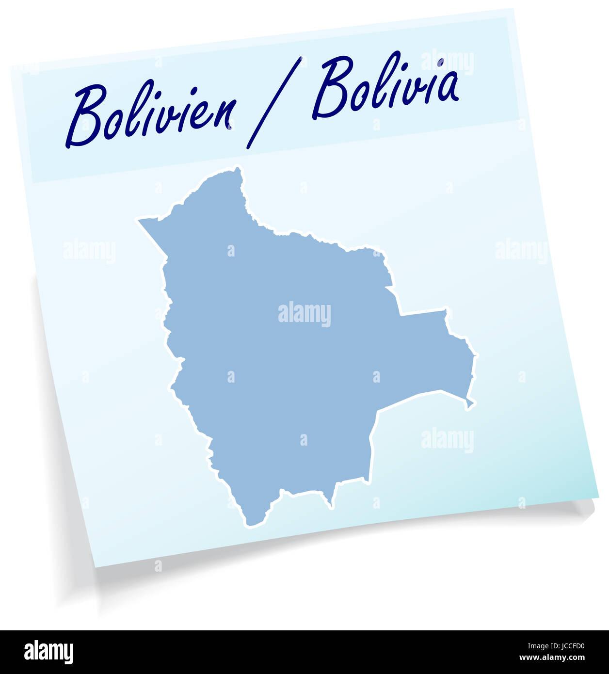 Bolivien als Notizzettel in Blau - Stock Image