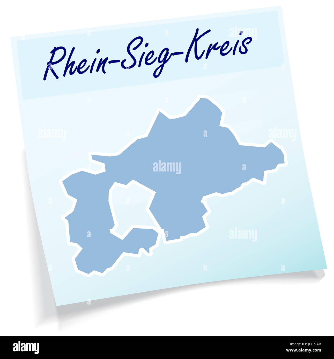 Rhein-Sieg-Kreis als Notizzettel in Blau - Stock Image
