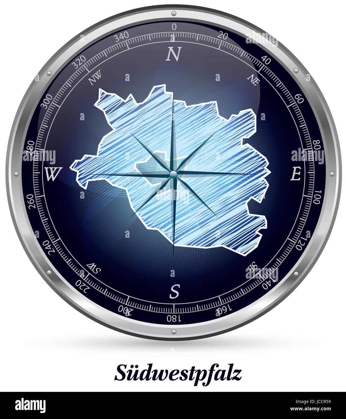 Suedwestpfalz mit Grenzen in Chrom Stock Photo