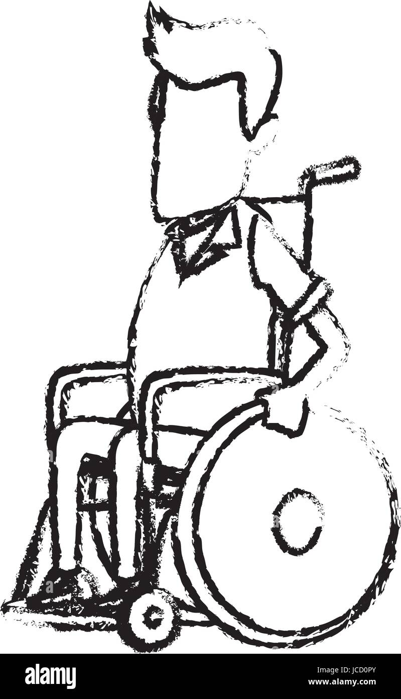 Man Character Disabled Sitting In Wheelchair Image Stock