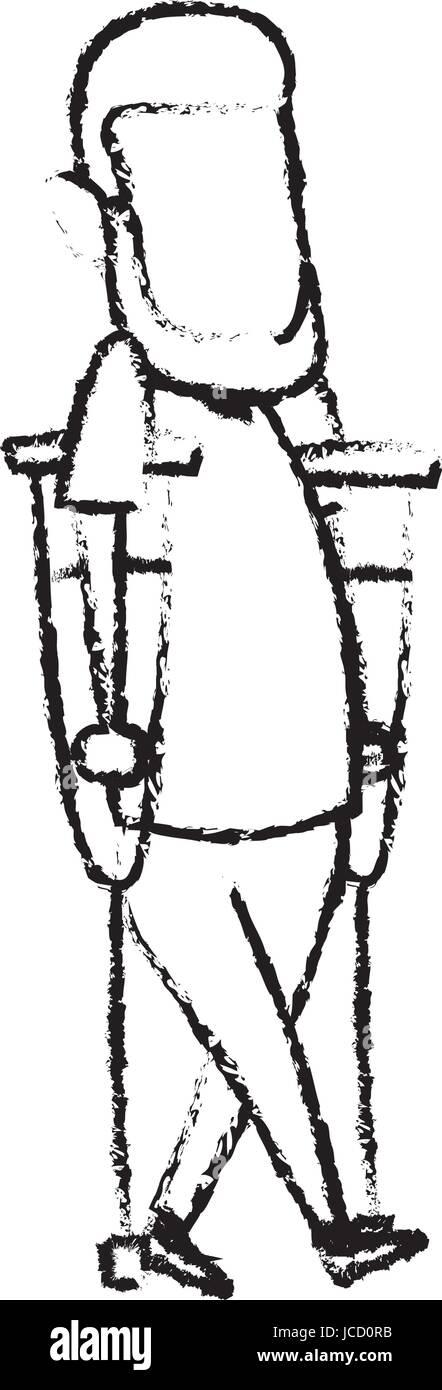 cartoon man disability walking on crutches - Stock Image