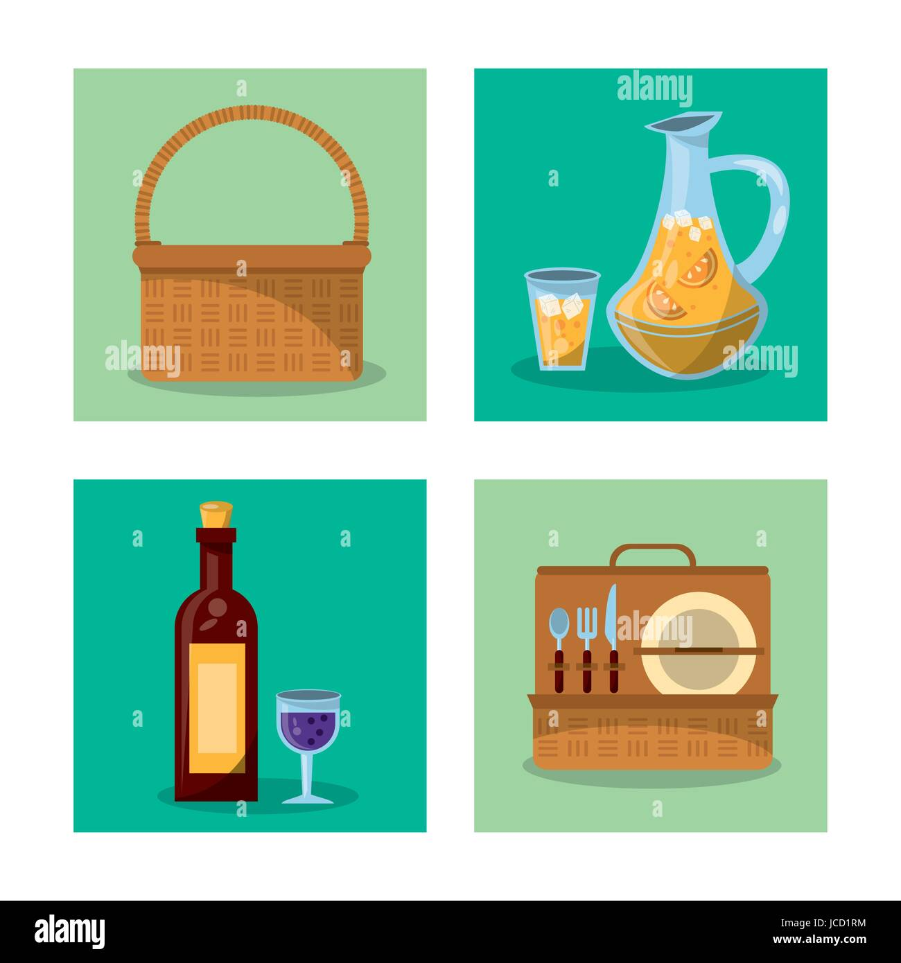 white background with frames of picnic elements with picnic basket ...