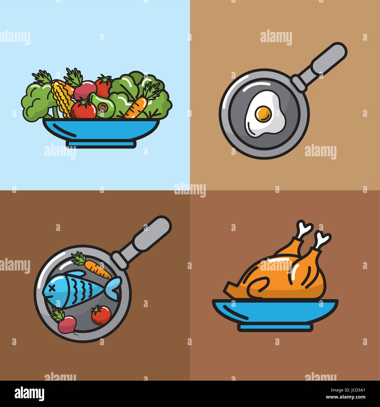 set nutrition vegetables and fruits with proteins - Stock Image