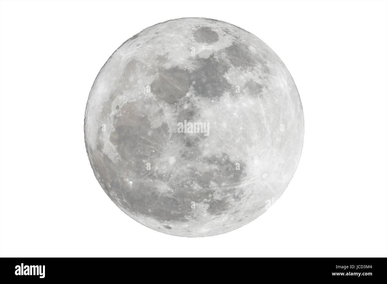 Full moon isolated over white background - Stock Image
