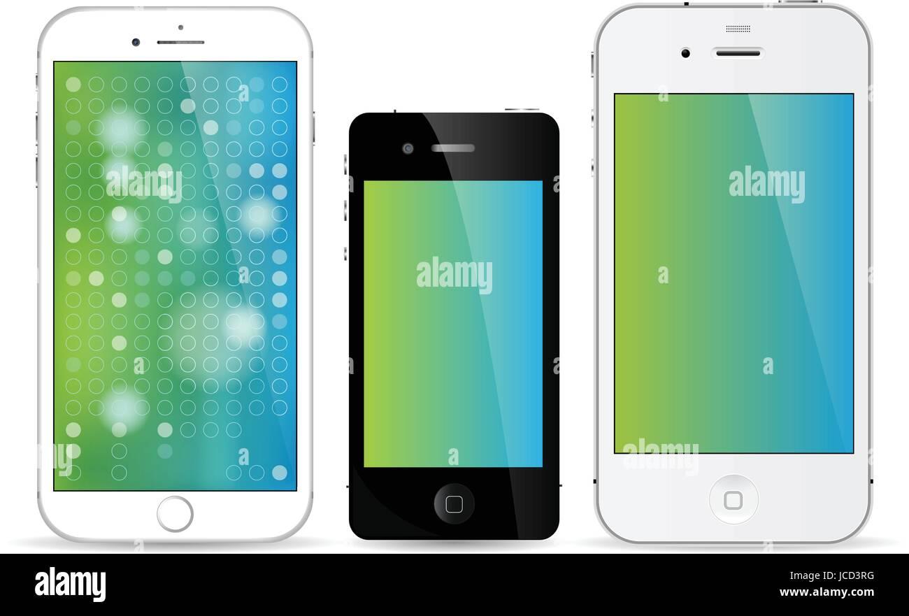 iPhone line of smartphones art - Stock Vector