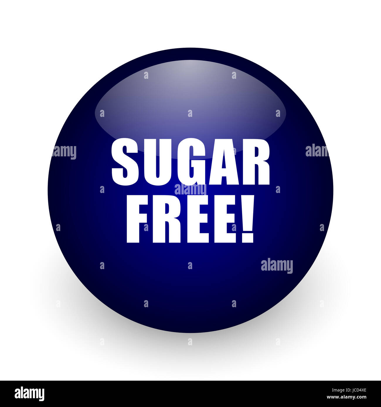 Sugar free blue glossy ball web icon on white background. Round 3d render button. Stock Photo