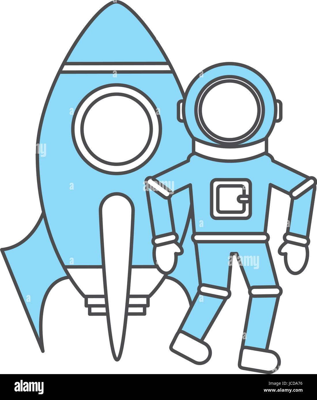 astronaut with rocket comic character icon - Stock Image