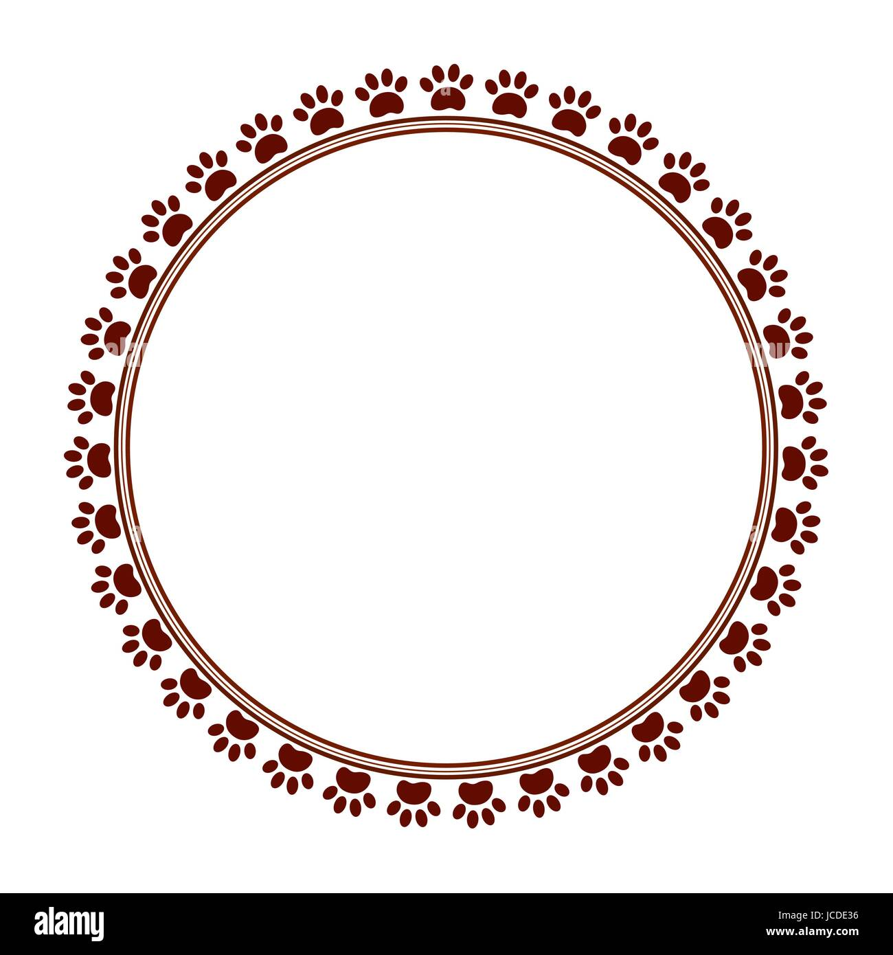 Brown paw prints animal round frame with empty space for your text ...