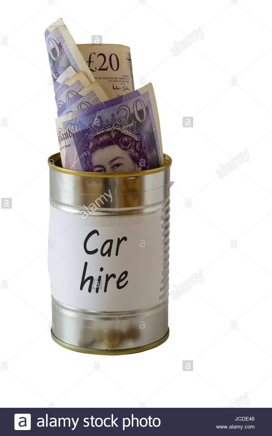 Car hire, cash kept in a tin can, England, UK - Stock Image