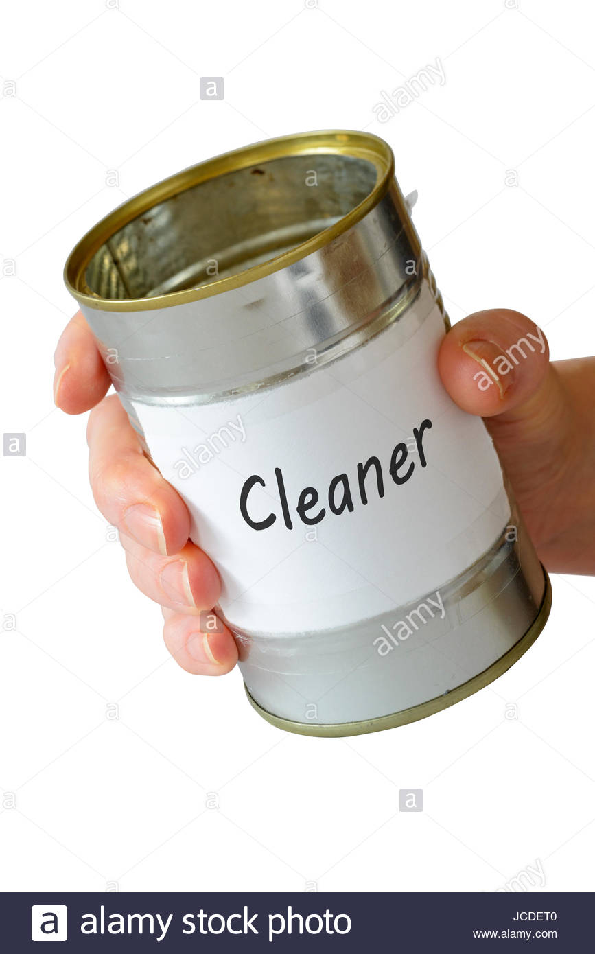 Cleaner, empty begging can, England, UK - Stock Image