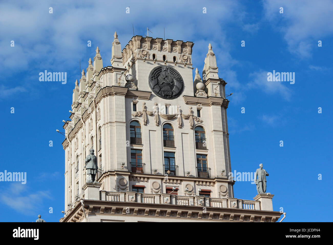 Tower in the style of Stalin's empire on the station square in Minsk, Belarus. - Stock Image