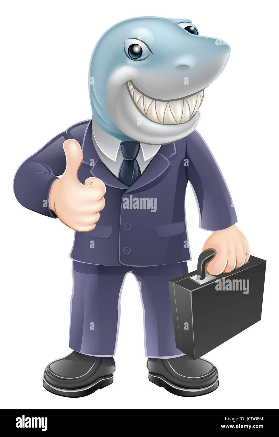 An illustration of a shark business man giving a thumbs up. Concept for unscrupulous or dangerous business person. - Stock Image