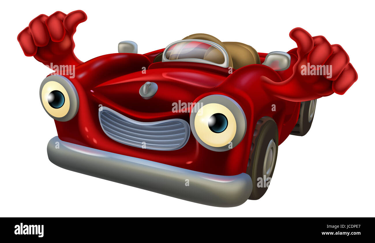 Cartoon Convertible Car Character With A Happy Face Giving A Thumbs Stock Photo Alamy