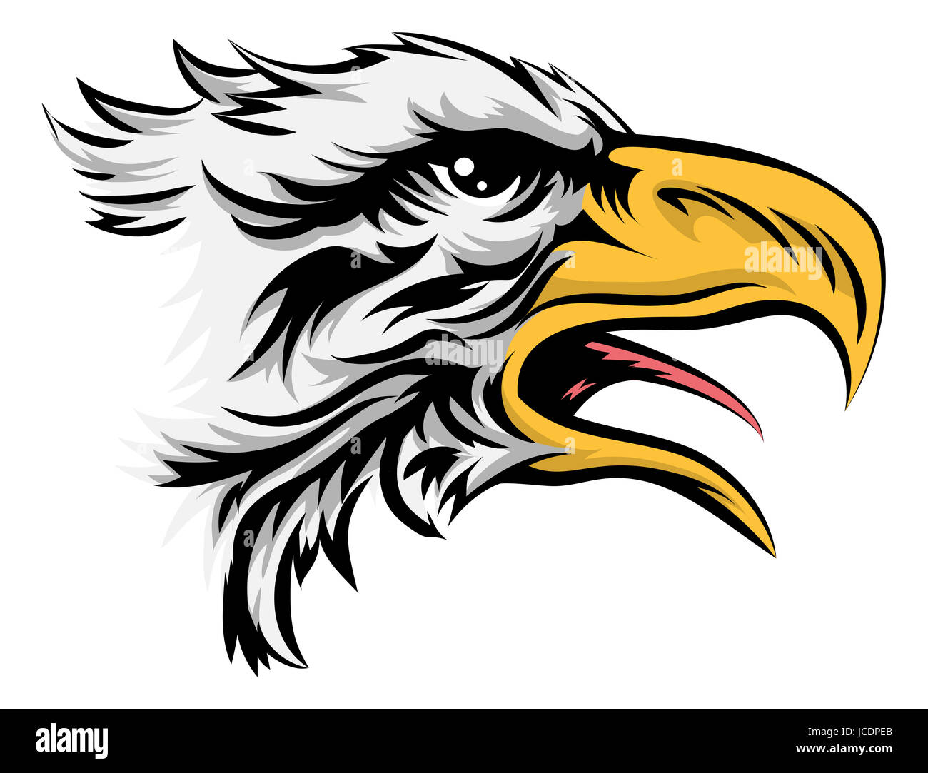 A drawing of a stylised bald eagle bird animal head - Stock Image