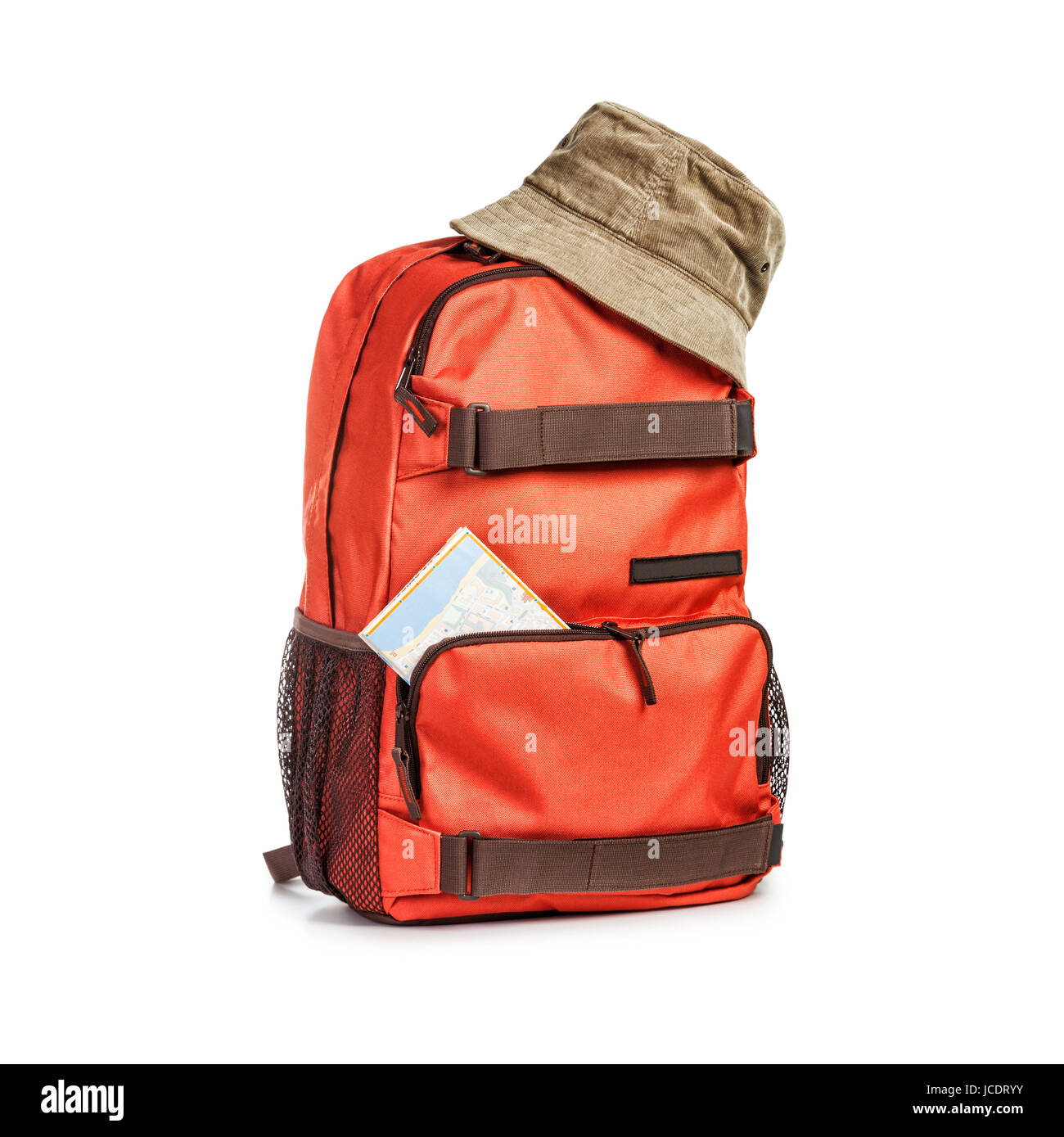 Backpack with hat and map isolated on white background. Tourism and travel  themes. Clipping path ea025d94a4a32