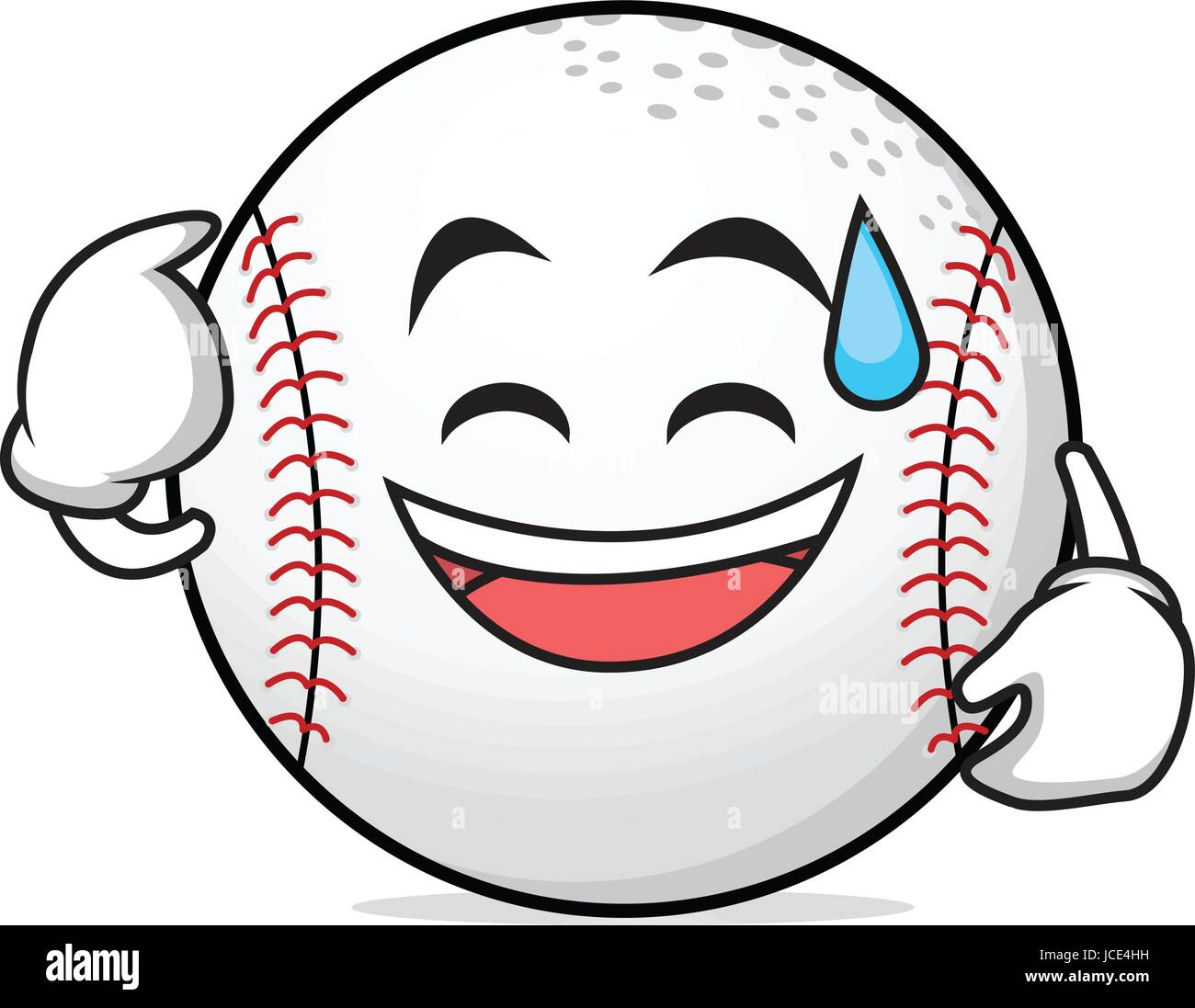 Sweat smile face baseball character - Stock Vector