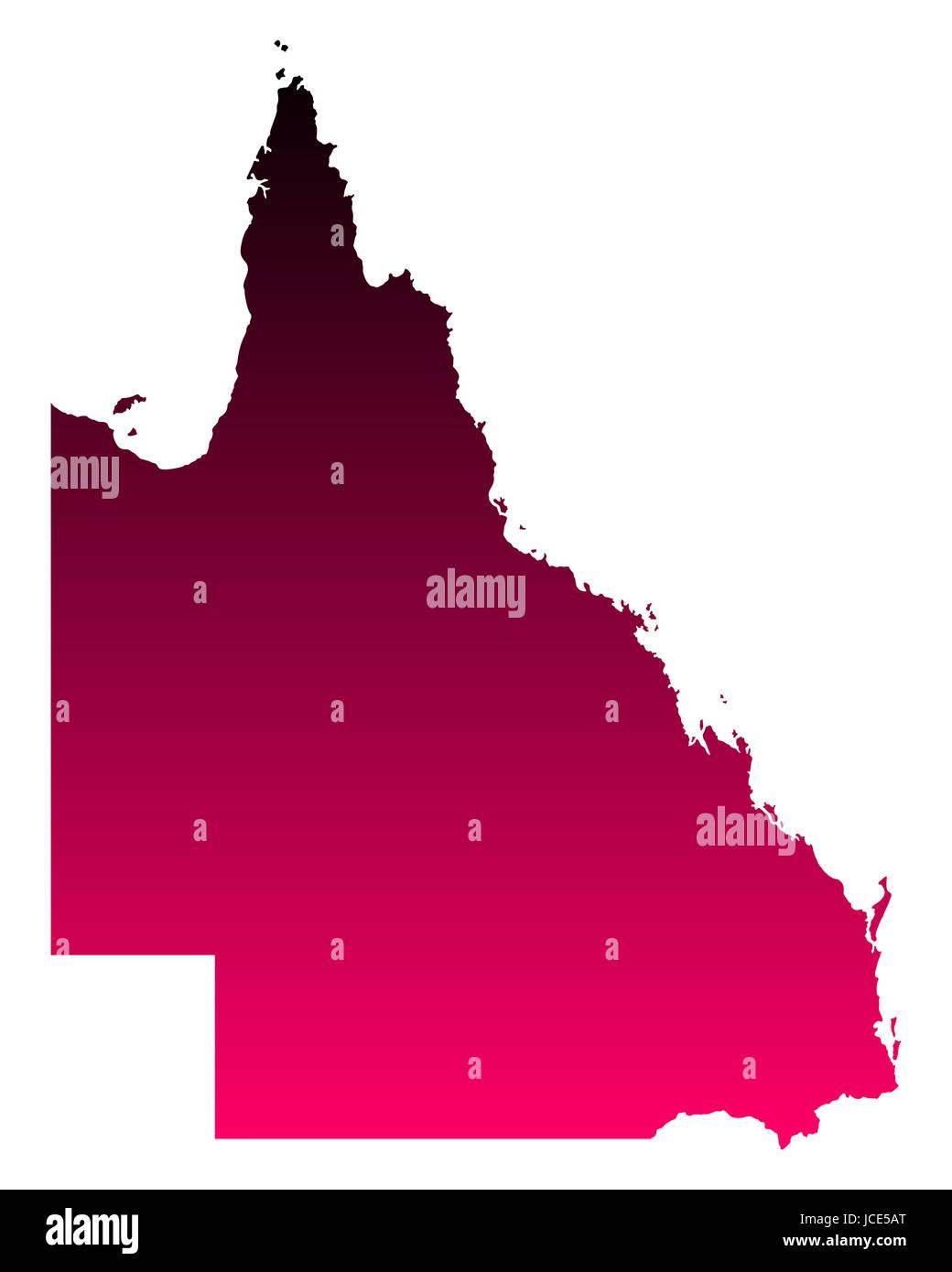 Karte von Queensland - Stock Image
