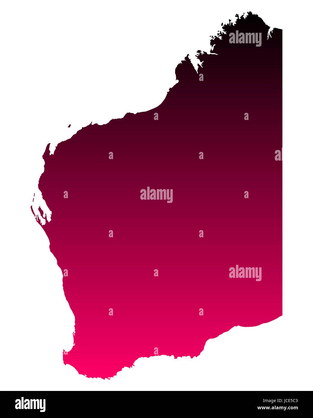 Karte von Western Australia - Stock Image