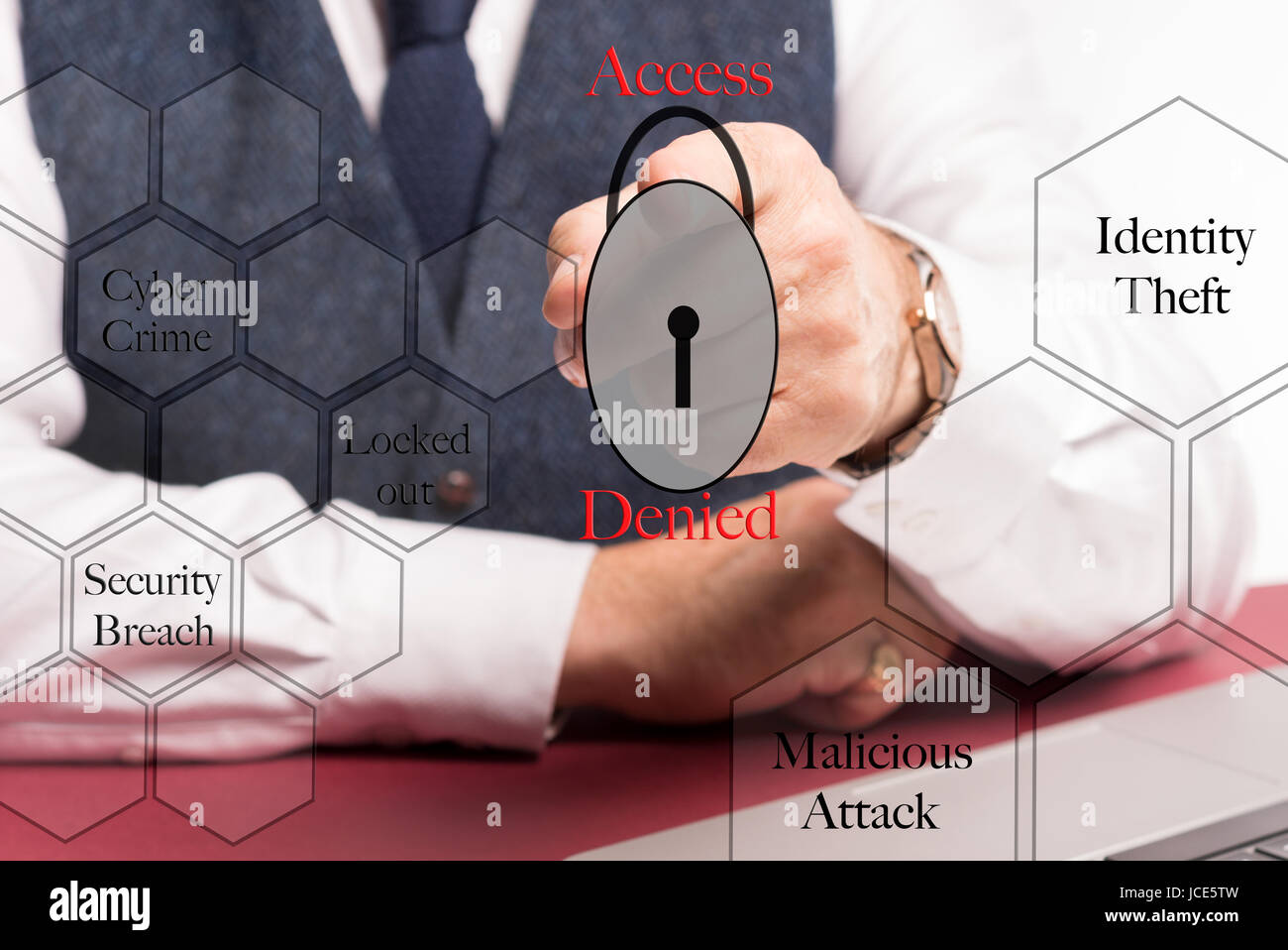 Business man sitting at desk behind virtual computer screen pointing at a locked padlock with the words access denied, - Stock Image