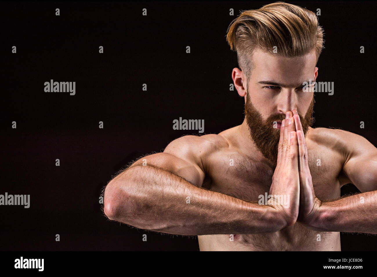 Bodybuilder Pose Black High Resolution Stock Photography and