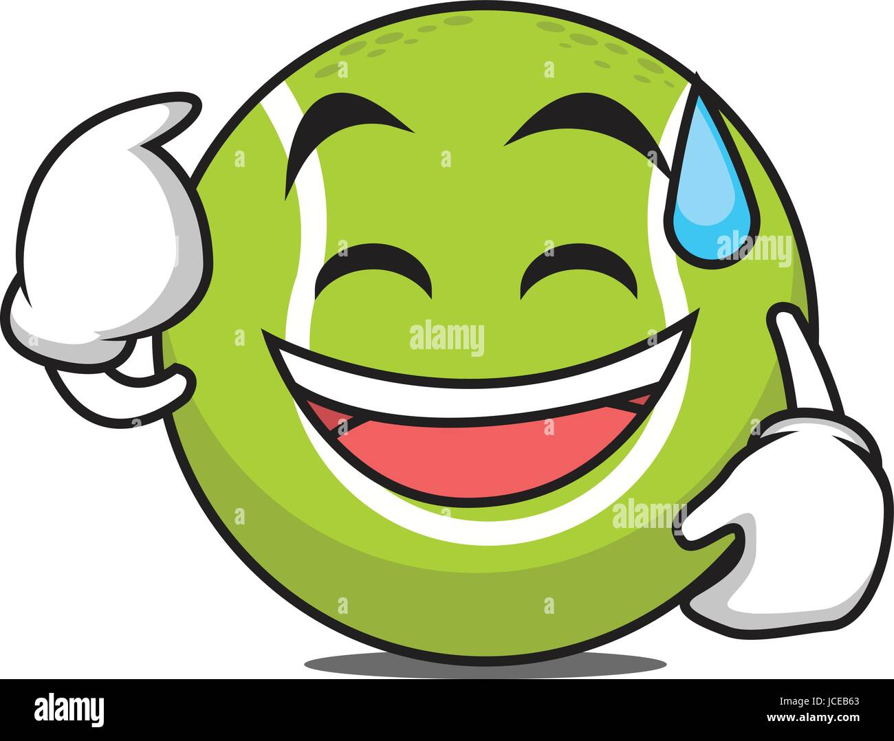 Sweat smile tennis ball character - Stock Vector