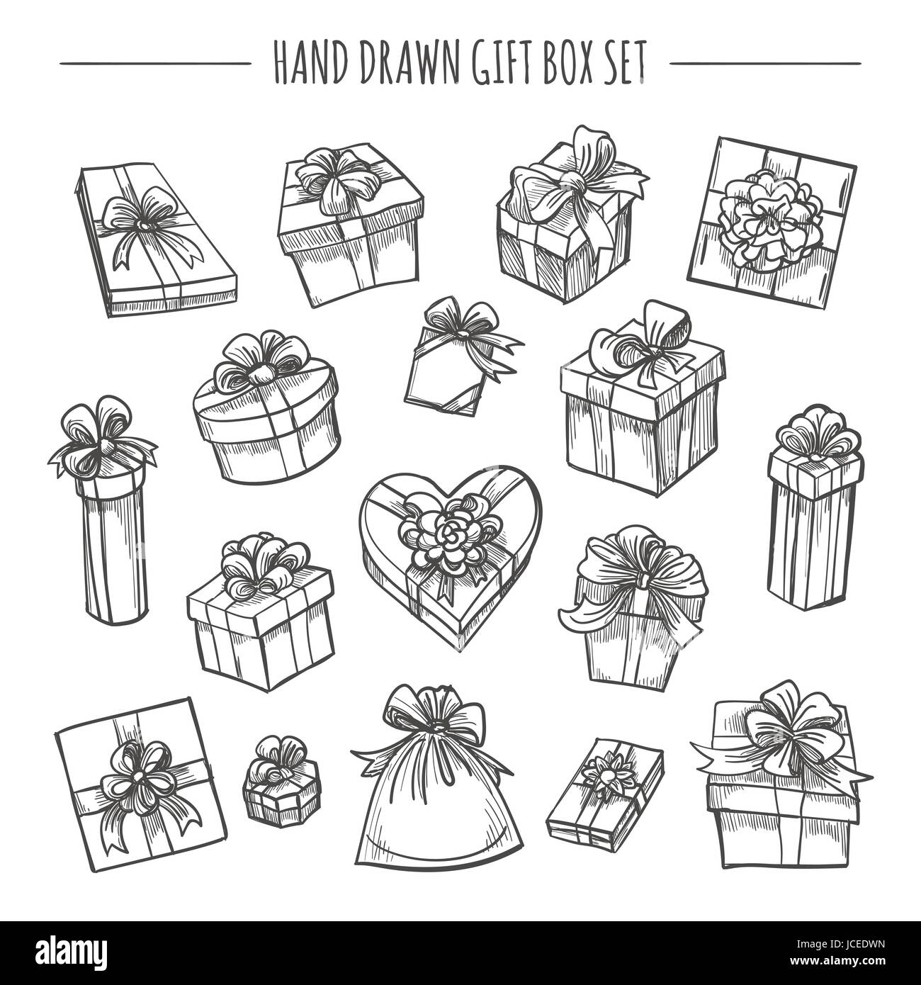 gift box set in hand drawn style sketch outline present boxes stock