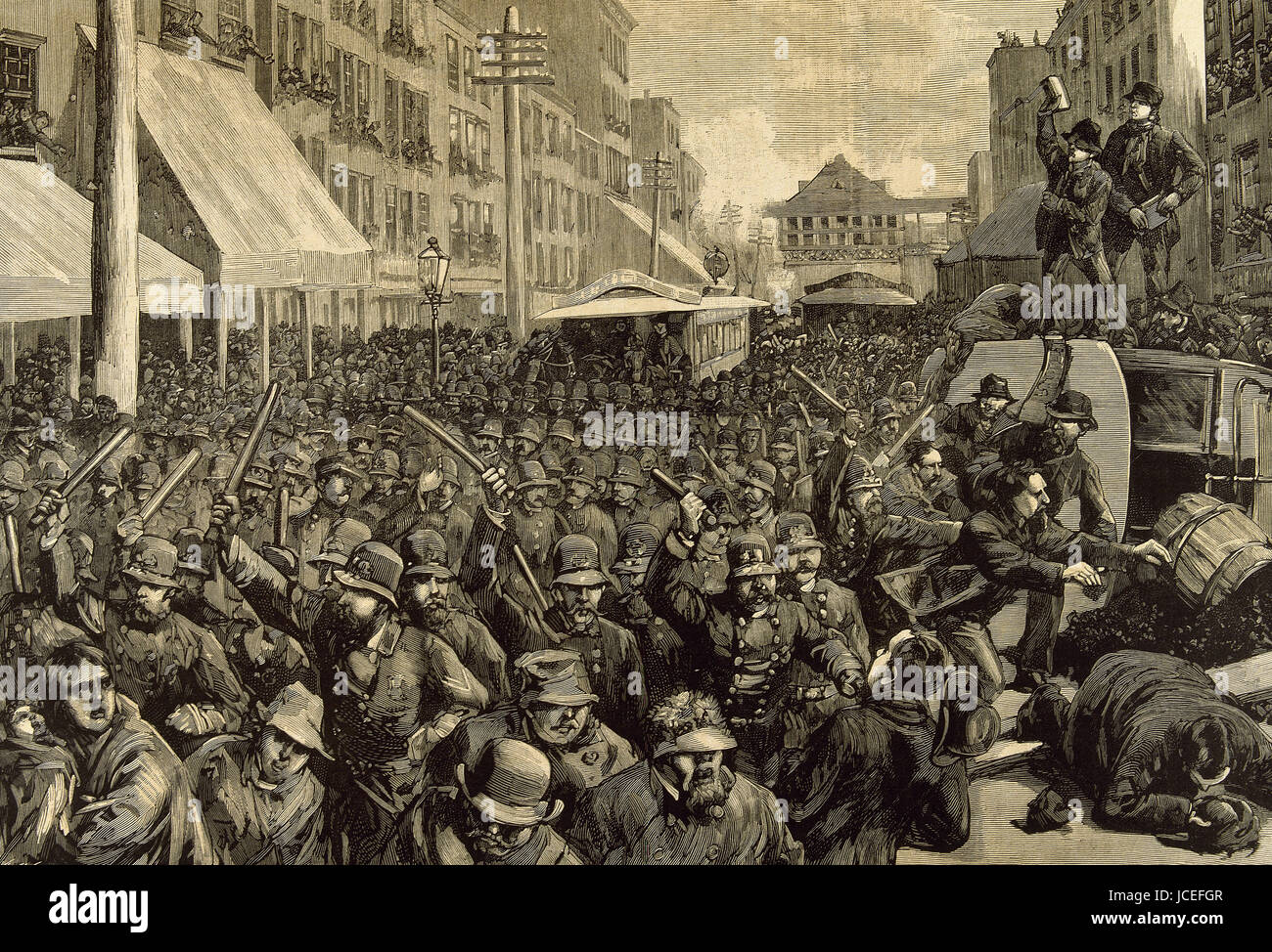 United States. New York city. Police officers dispersing the strike of employees of Streetcar. March 4, 1886. Engraving. - Stock Image
