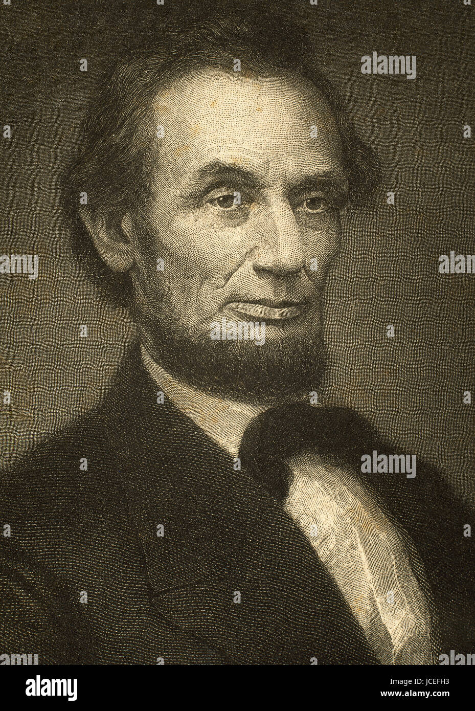 Abraham Lincoln (1809-1865). American Politician and lawyer.16th President of the United States. Portrait. Engraving. - Stock Image