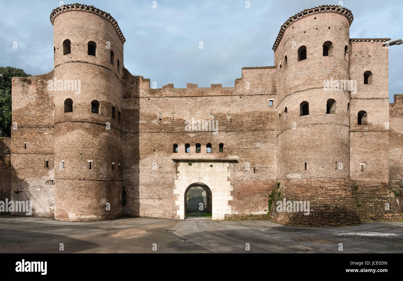 The Porta Asinaria is a gate in the Aurelian Walls of Rome. It was originally a simple gate,but Honorius added two - Stock Image