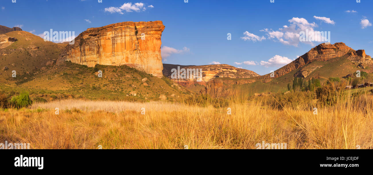 The Brandwag Buttress in the Golden Gate Highlands National Park, South Africa. Photographed in late afternoon sunlight. Stock Photo
