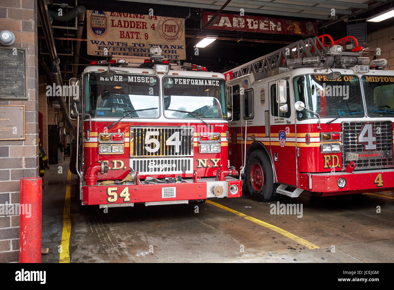 fdny fire station with engine 54 and ladder 5 battalion 9 New York City USA
