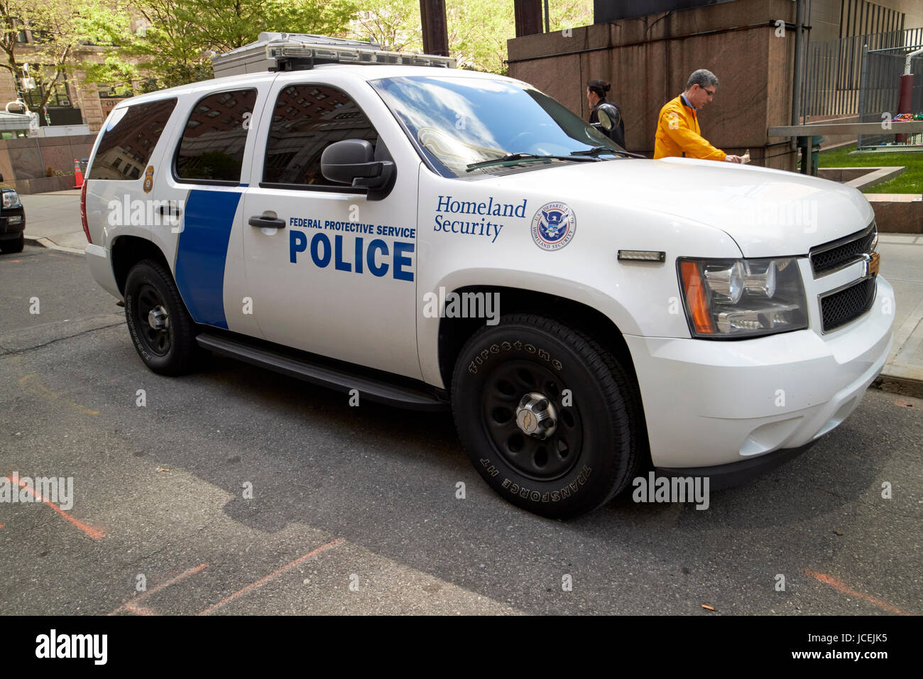 federal protective police homeland security chevy suv vehicle New York City USA - Stock Image