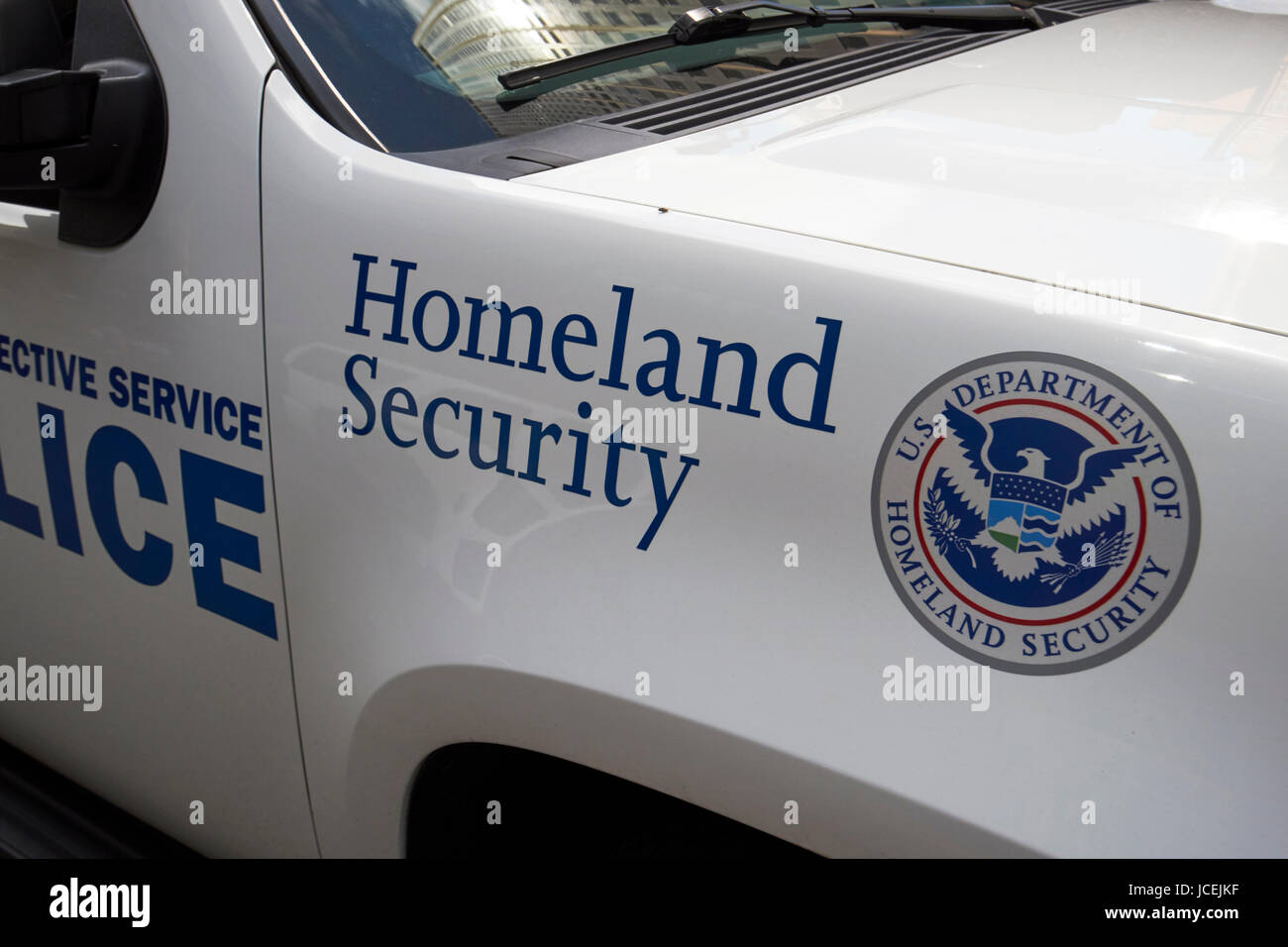 homeland security logo on vehicle New York City USA Stock Photo