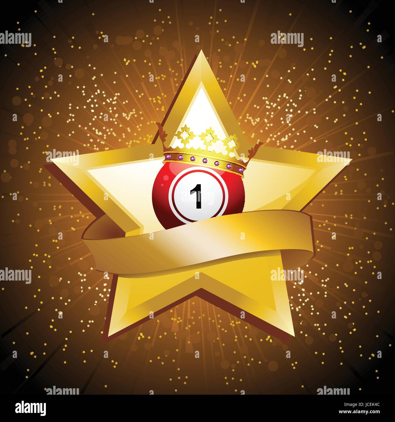 Red Bingo Lottery Ball Number 1 with Crown on Golden Star with Blank Banner Over Golden Star Burst Background - Stock Image