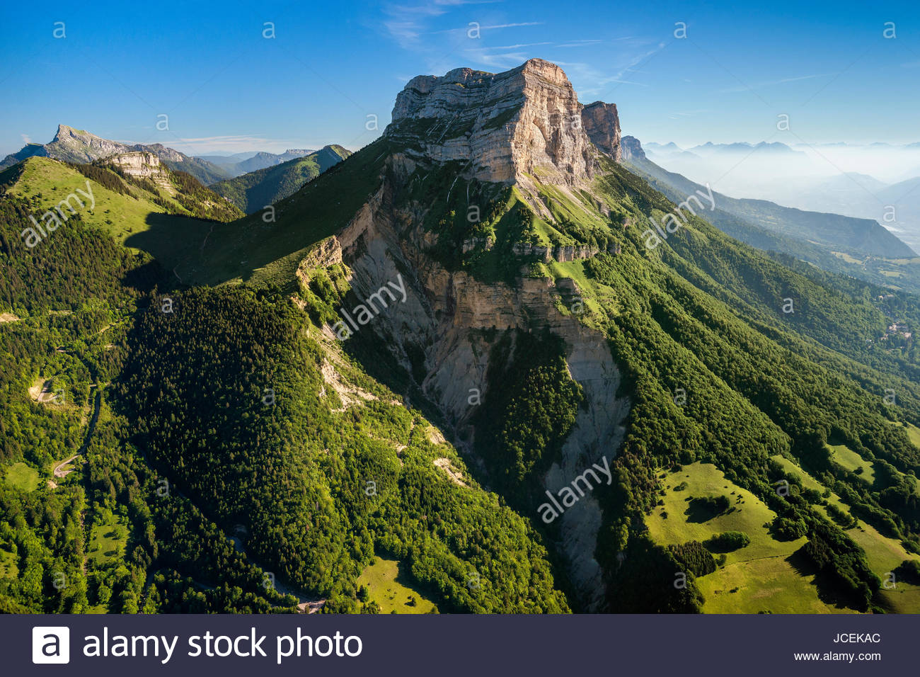 Aerial view of the Dent de Crolles mountain and the Petites Roches plateau (Chartreuse mountain range) near Grenoble - Stock Image
