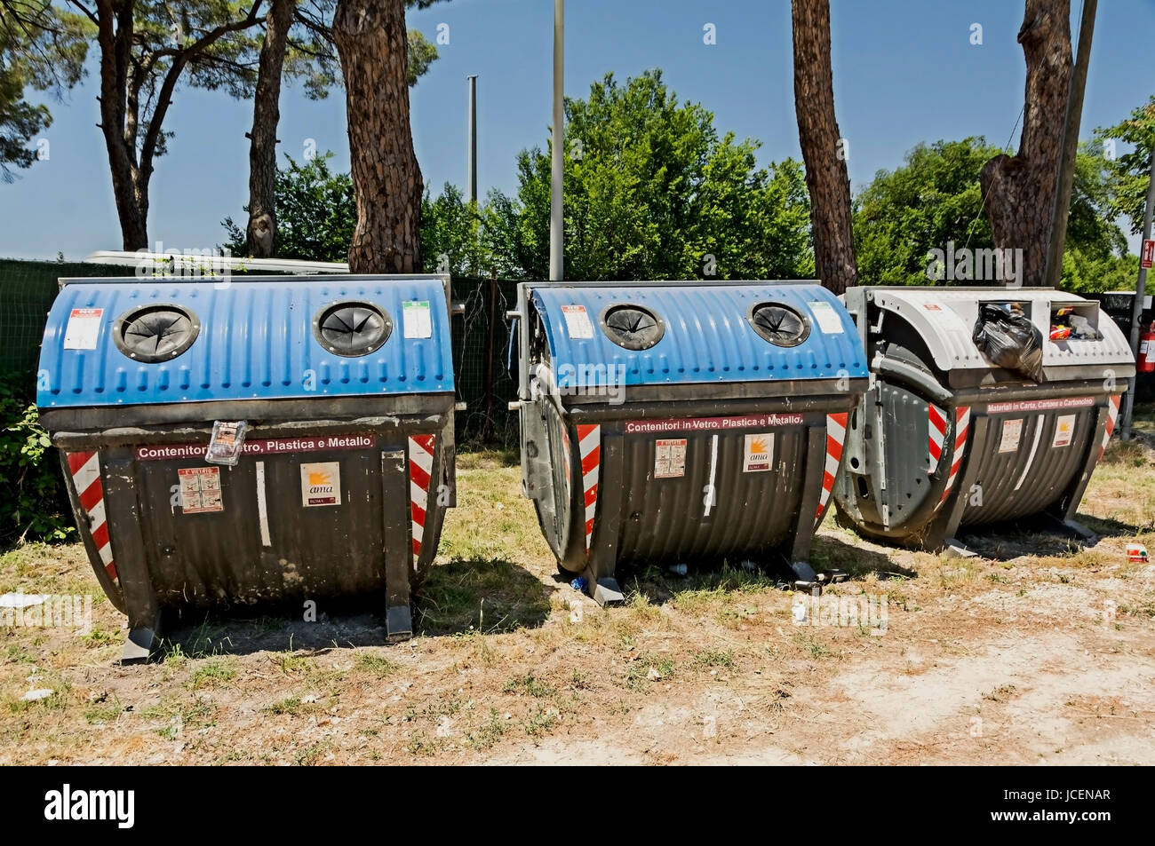 Commerical size recycling bins in Italy. - Stock Image