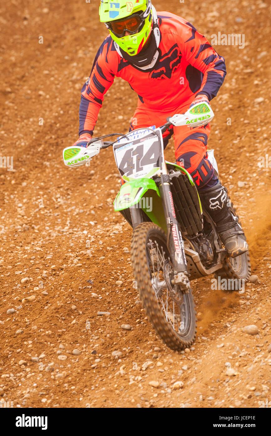 Motocross bike scrambler on a uk track - Stock Image