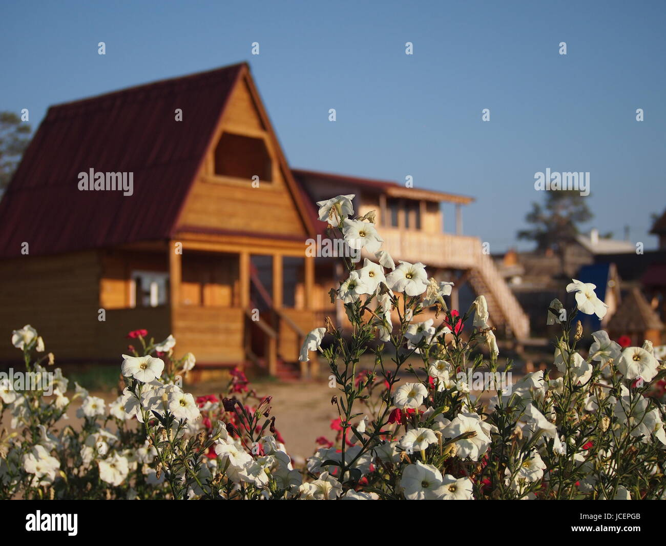 Traditional wooden log cabin on Olkhon Island in Siberia, Russia Stock Photo
