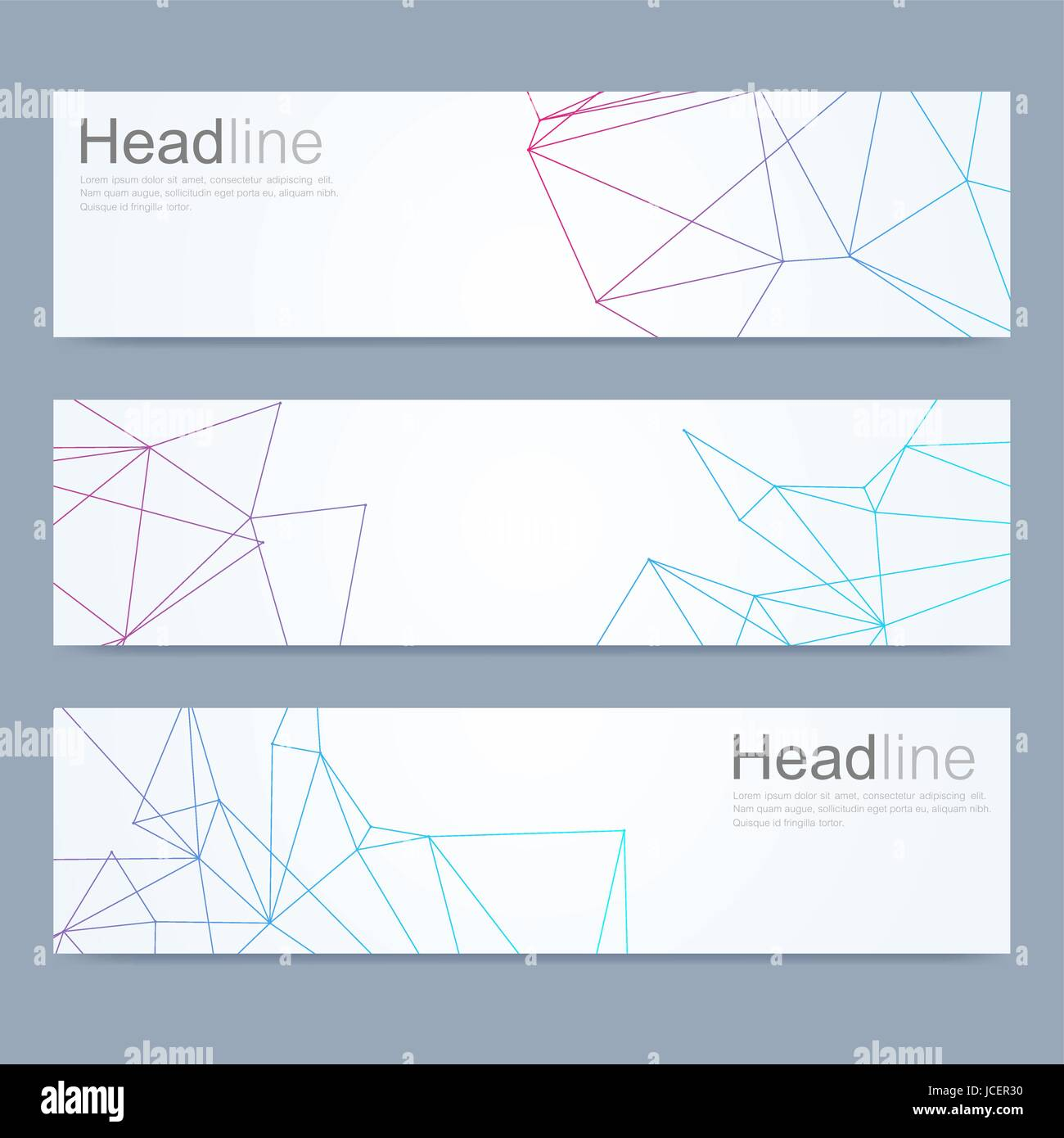 Scientific set of modern vector banners. DNA molecule structure with connected lines and dots. Science vector background. - Stock Image