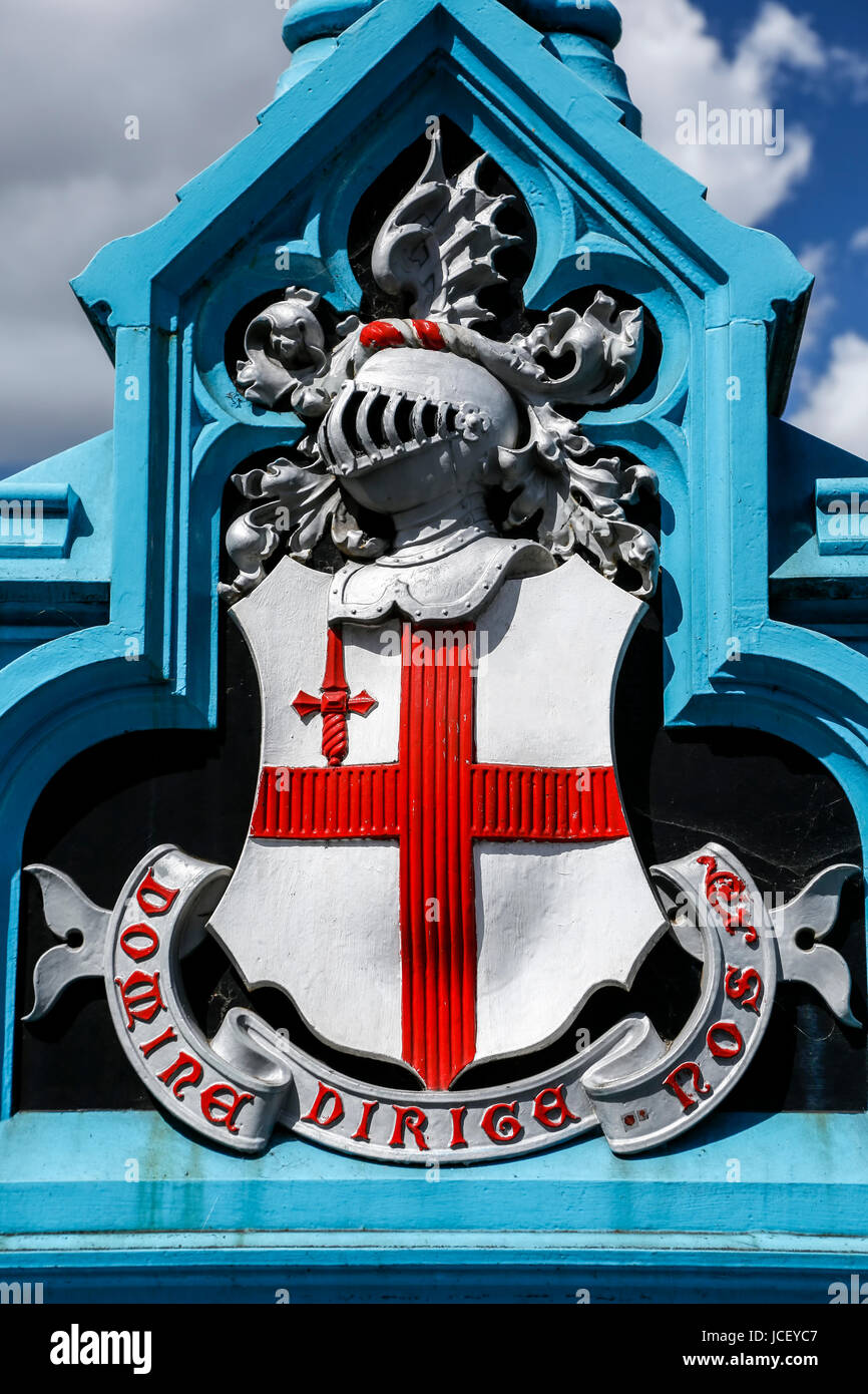 City of London coat of arms and motto ('Domine dirige nos'/Lord guide us), Tower Bridge, London, England, - Stock Image