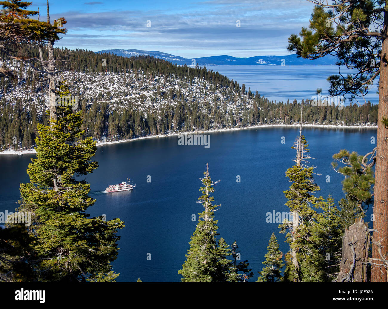An image of the Tahoe Queen paddle wheel cruise ship on a winter excursion in Lake Tahoe's Emerald Bay. Stock Photo