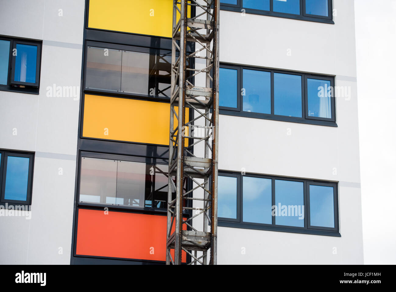 Dangerous flammable cladding panels being removed from on a tower block in Oxford after the Grenfell Tower tragedy - Stock Image