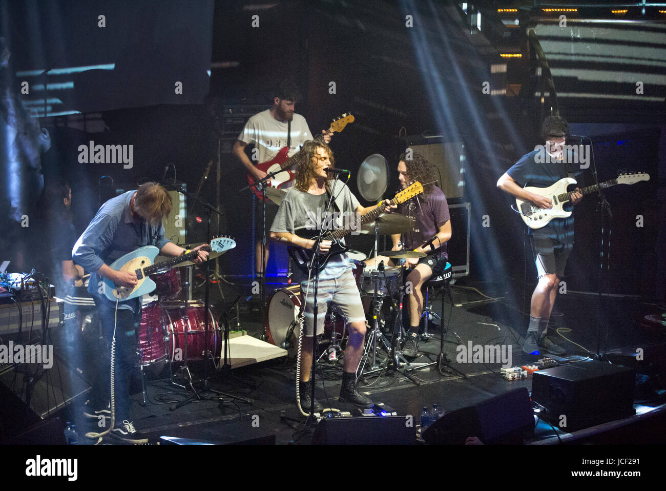 Manchester, UK. 14th Jun, 2017. Australian psychedelic rock band King Gizzard and the Lizard Wizard play the Albert - Stock Image