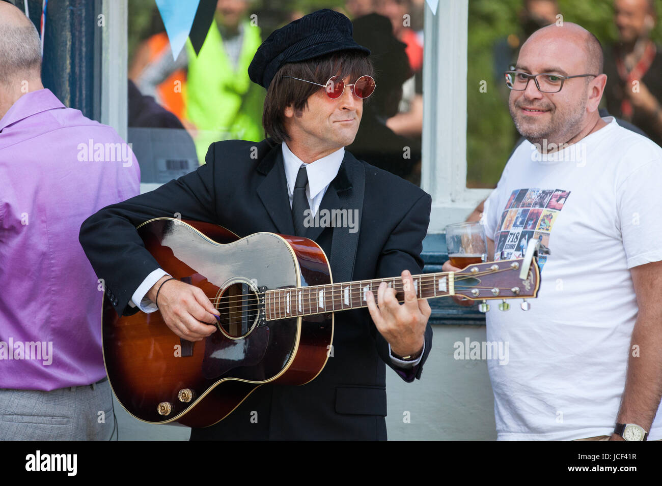 15th June 2017 A Member Of Beatles Tribute Band The Upbeat Plays After Actor Singer And Songwriter Kate Robbins Unveiled Blue Plaque On BBC