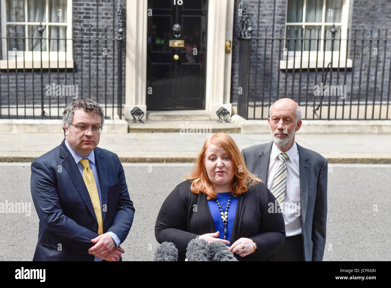 London, UK. 15th June, 2017. Naomi Long, leader of the Alliance Party, flanked by (L) Stephen Farry and (R) David - Stock Image
