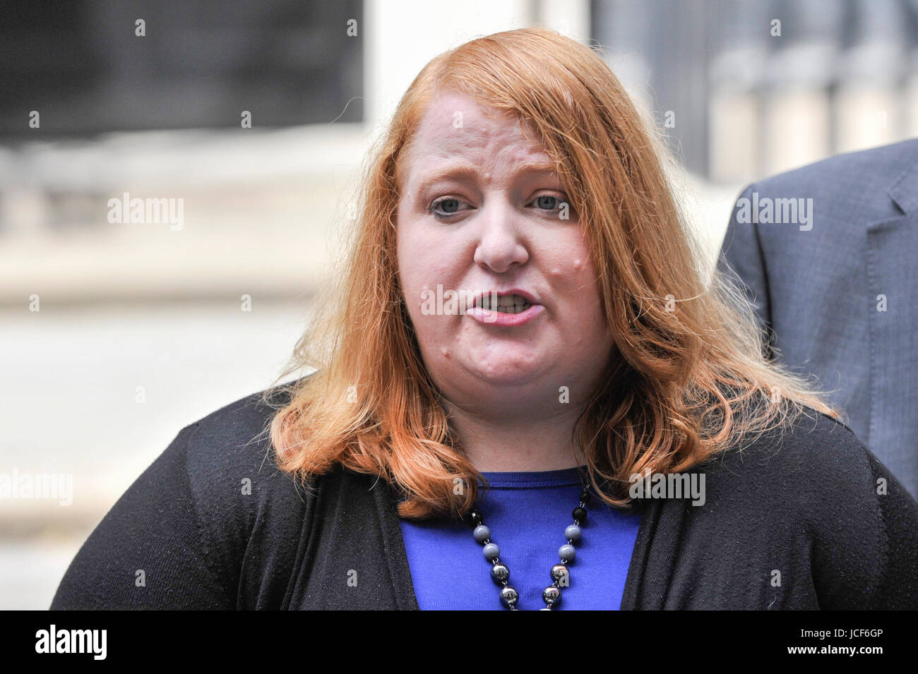 London, UK. 15th June, 2017. Naomi Long, leader of the Alliance Party, gives a press conference outside Number 10. - Stock Image
