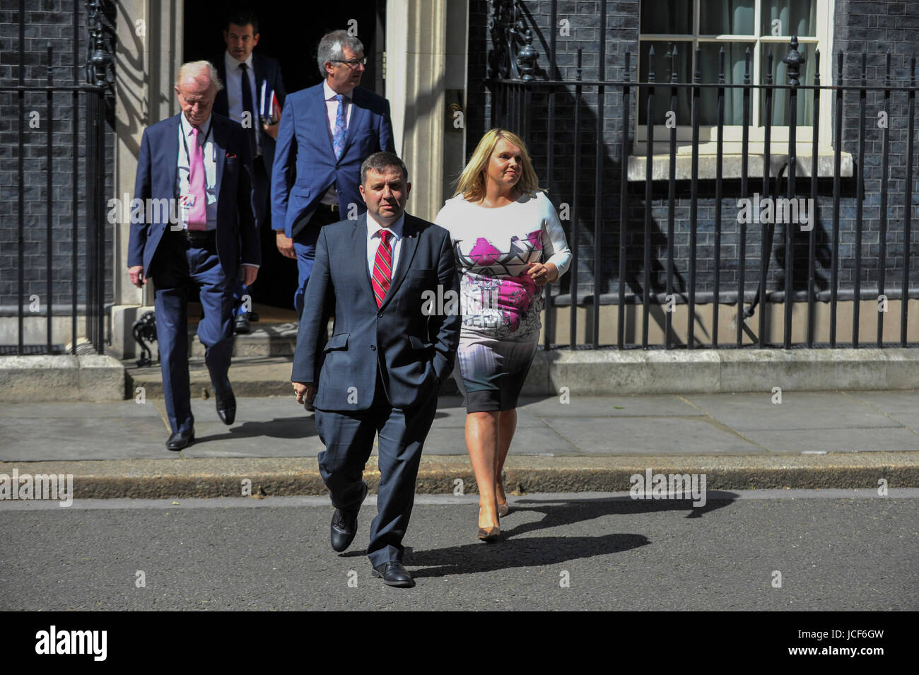 London, UK. 15th June, 2017. Robin Swann, leader of the Ulster Unionist Party, exits Number 10. Members of the Northern - Stock Image